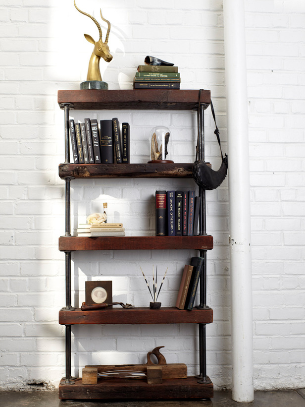 Industrial Style Shelf Made From Reclaimed Wood