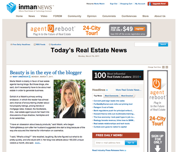 Scottsdale REALTOR Marta Walsh Featured in Inman News