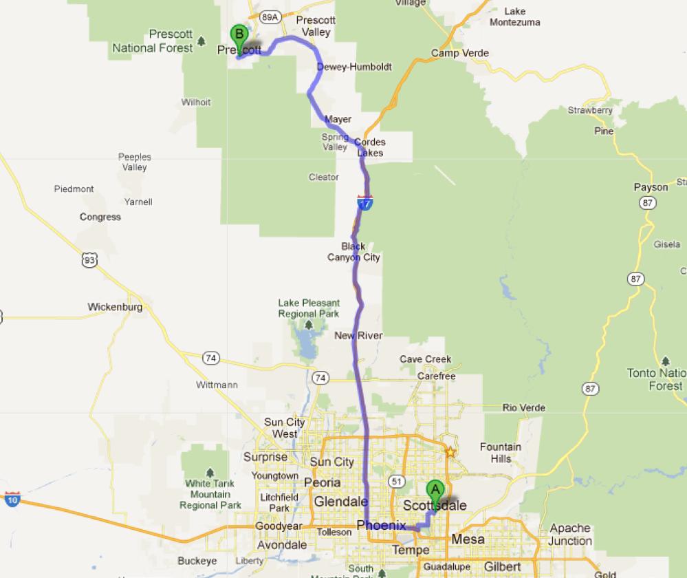 Scottsdale, AZ to Prescott, AZ