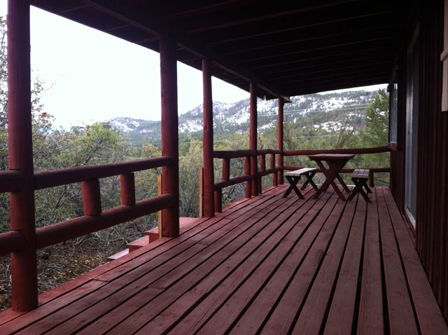 Prescott Log Cabin | Back Deck With Mountain Views